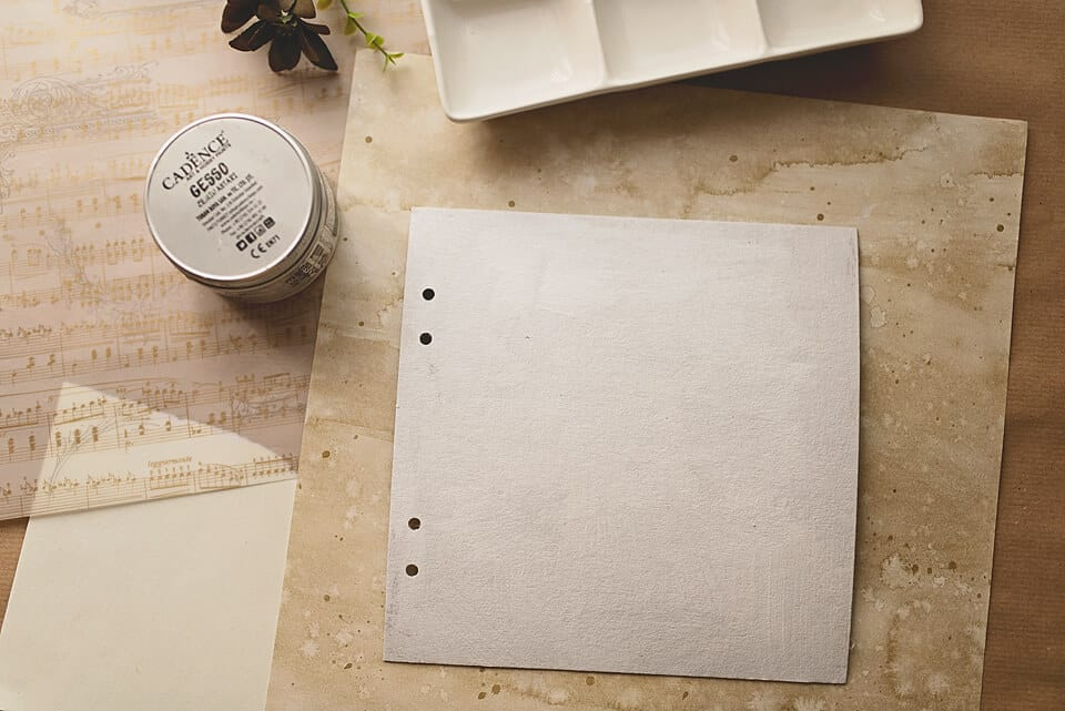 A COVER OF A DIY ART JOURNAL COVERED IN GESSO
