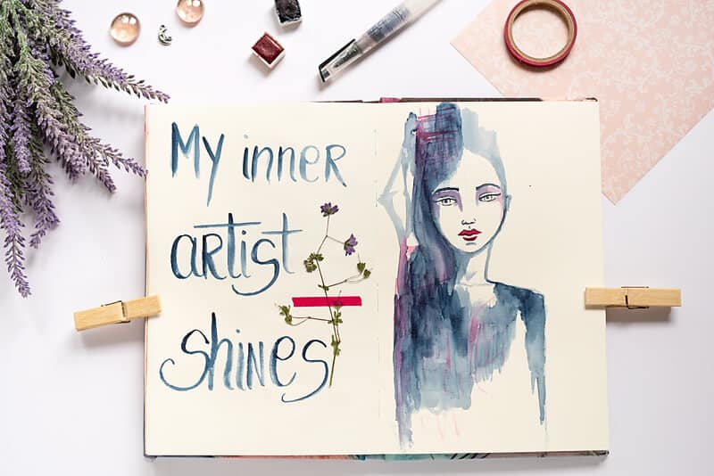 ART JOURNAL SPREAD WITH POSITIVE AFFIRMATION AND WATERCOLOR GIRL