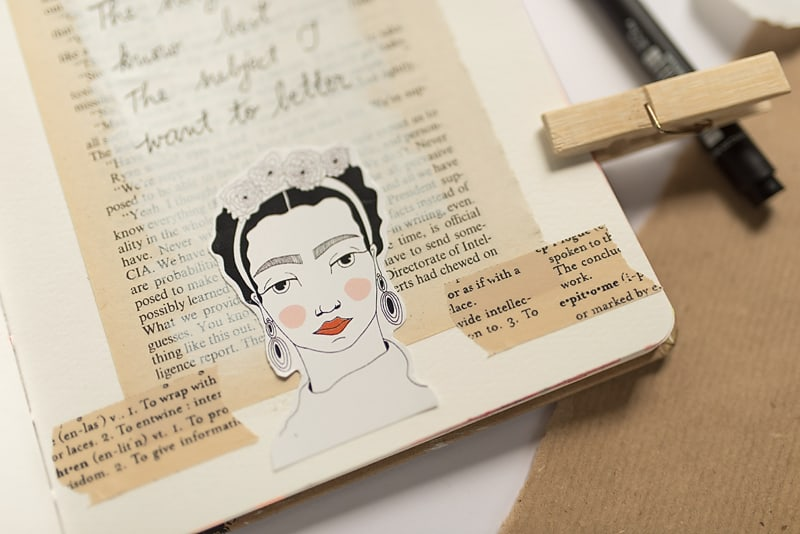 FRIDA KAHLO STICKER IN A JOURNAL