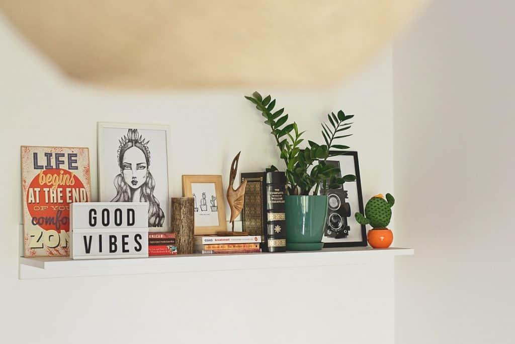 A PHOTO OF AN INSPIRATIONAL SHELF WITH BOOKS, DRAWINGS AND PLANTS.