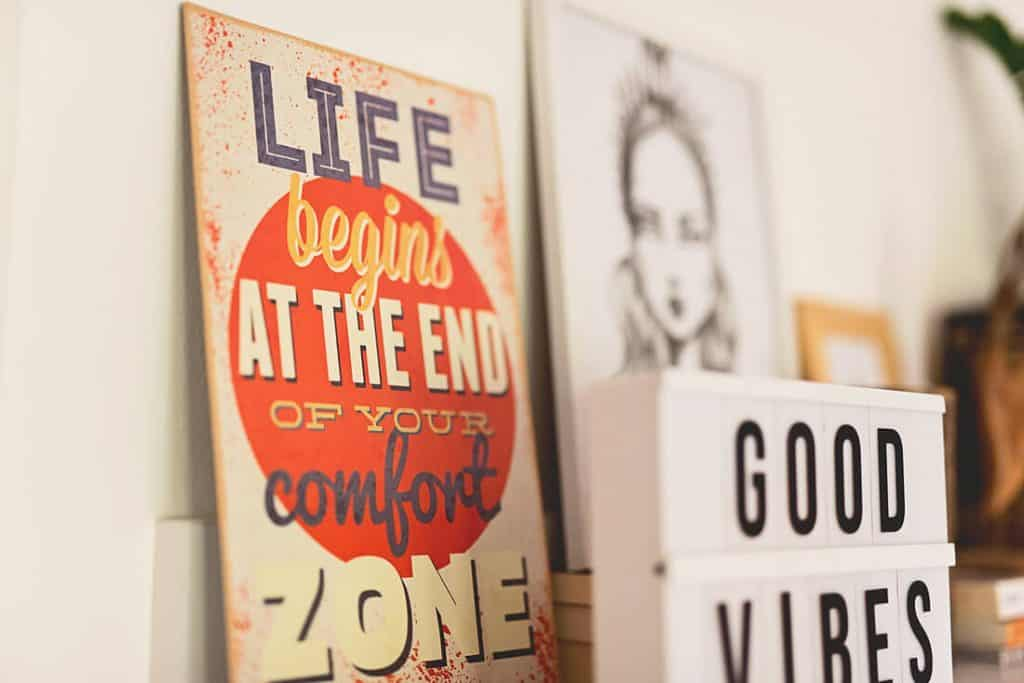a shelf decorated with a quote