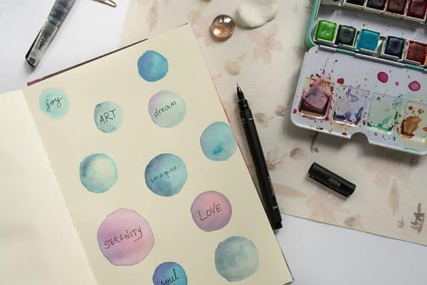 watercolor circles with words