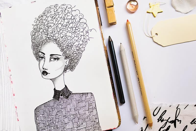 a girl drawing