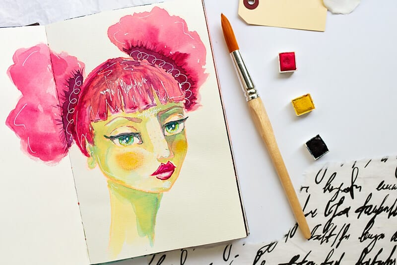 watercolor girl on an art journal page