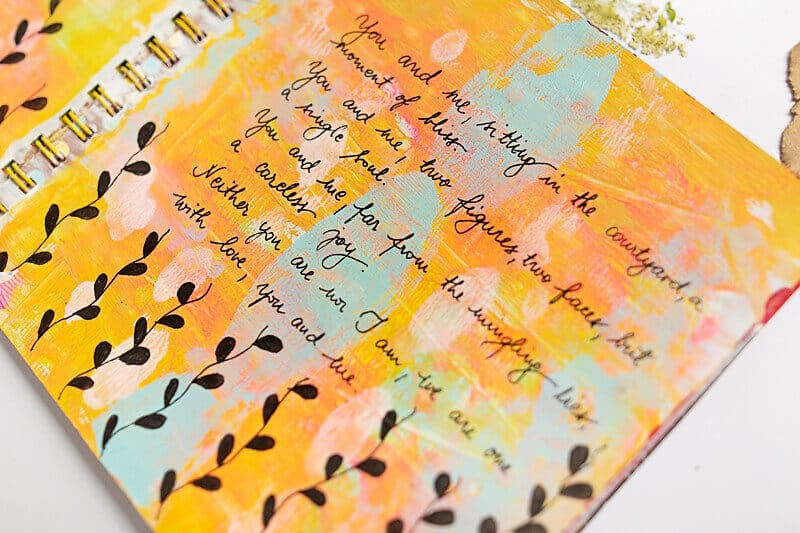 lyrics art journal page with doodles