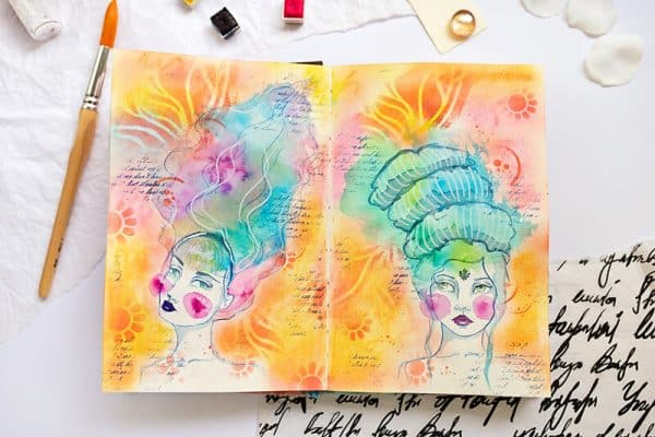 watercolor girls in art journal