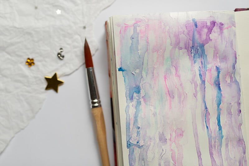 WATERCOLOR BACKGROUND TECHNIQUE WITH GESSO AND DRIPPING