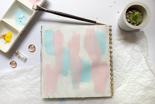 acrylic paint in art journal