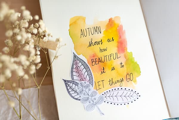 art journal page with autumn quote