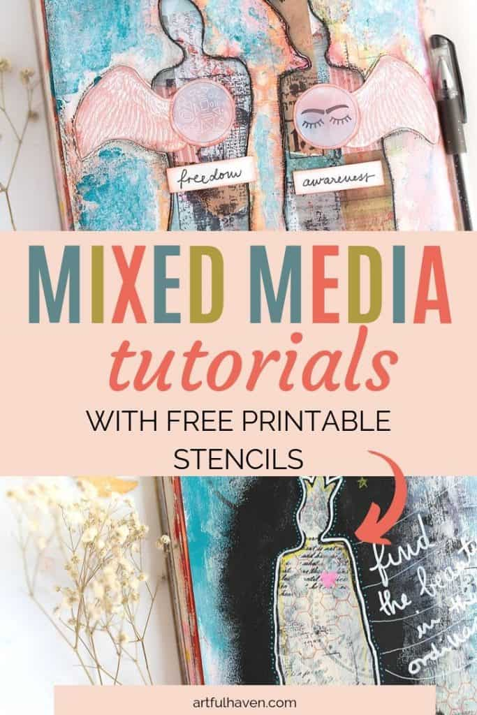 mixed media stencil tutorial