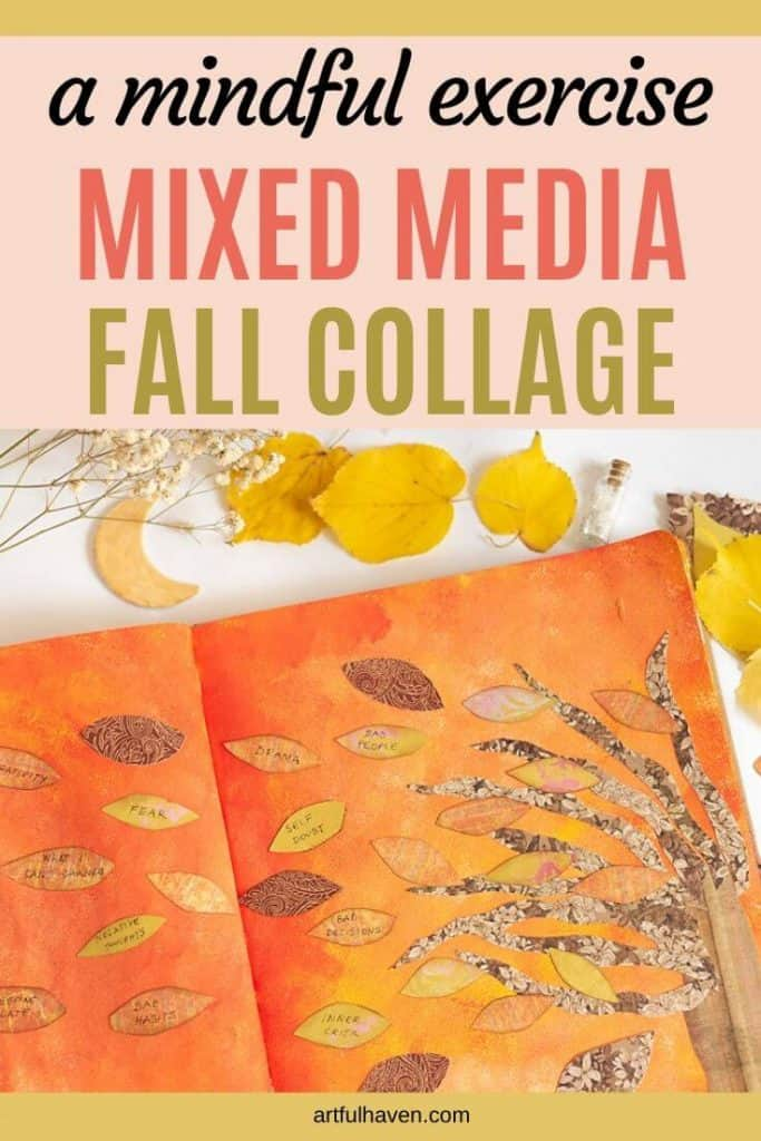 mixed media fall collage tutorial