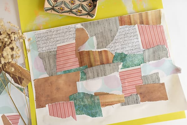 collaged paper for a mixed media tutorial