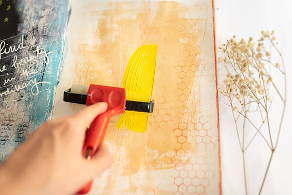 painting art journal page with yellow
