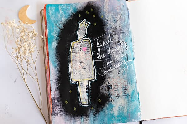 mixed media art journal page