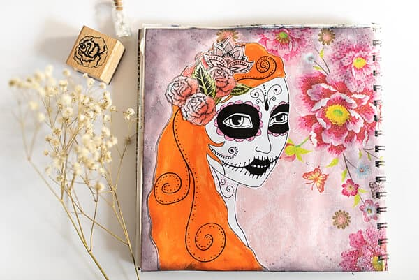 SUGAR SKULL DESIGN IN AN ART JOURNAL