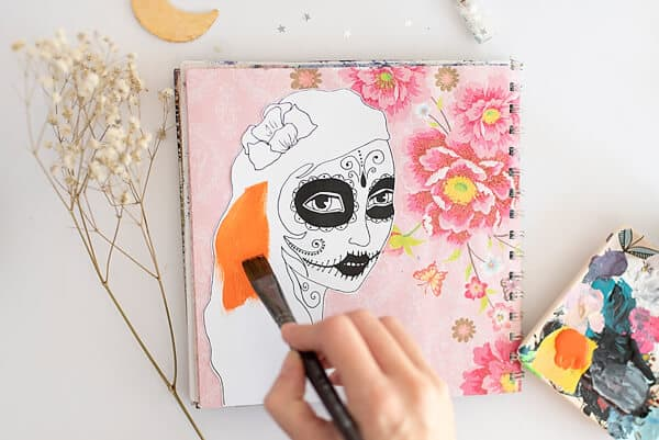 HAND PAINTING A SUGAR SKULL GIRL PRINTABLE