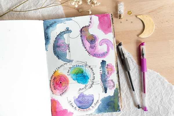 SYMBOL DOODLES ON ART JOURNAL PAGE