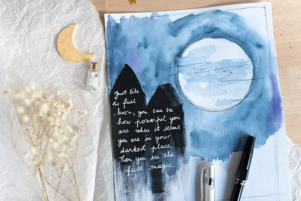 FULL MOON PAINTED IN WATERCOLOR AND A QUOTE