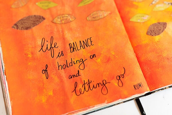 FALL QUOTE ON AN ART JOURNAL PAGE