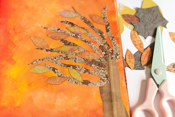 fall tree collage in an art journal