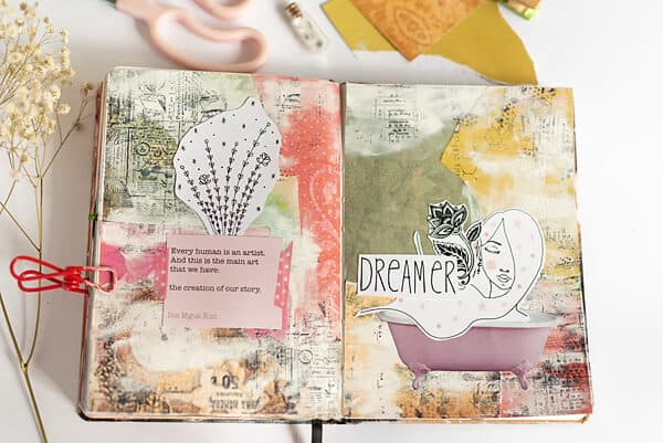 finished collage art journal spread