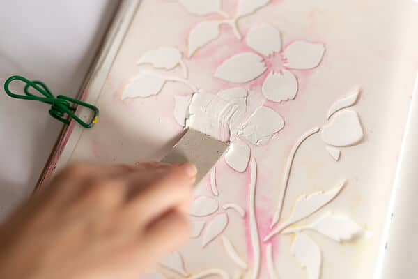 using a stencil and relief paste