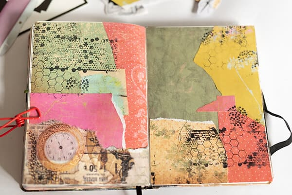 collage mixed media spread