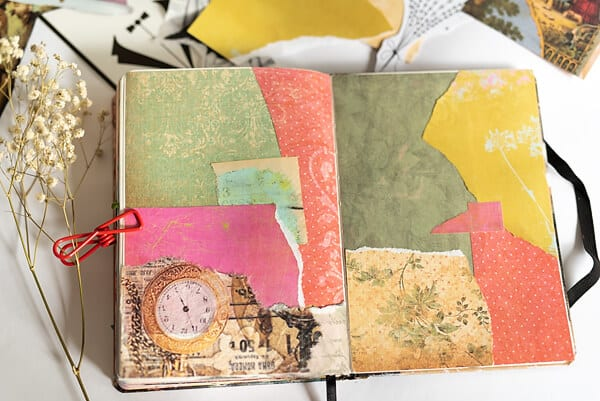 art journal spread with paper collage