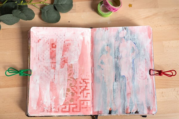 ART JOURNAL SPREAD COVERED IN GESSO