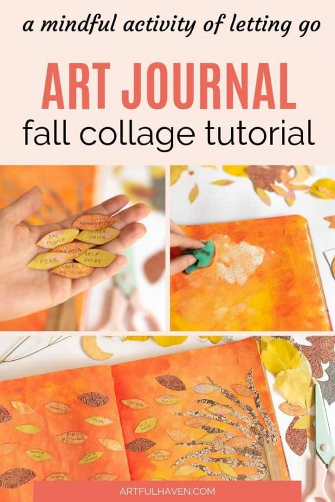 fall collage art journal tutorial