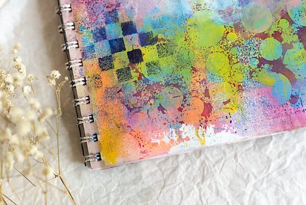 journal page with stencil and acrylics