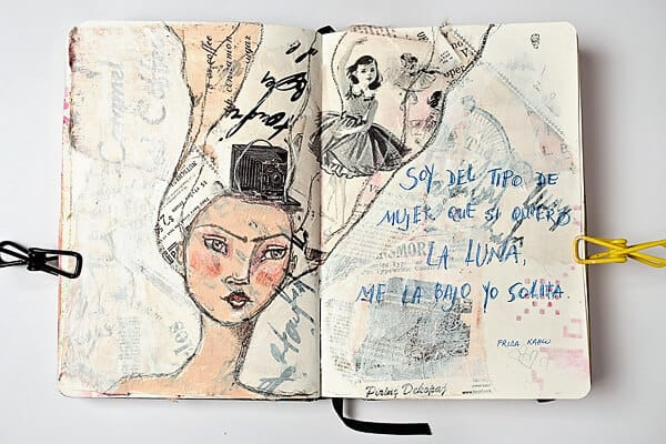 art journal page painted with gesso