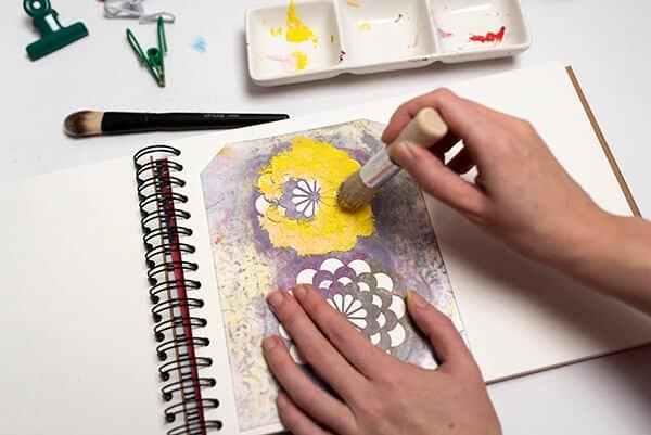 painting with acrylic paint and a stencil