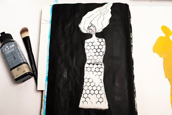 black and white art journal page with a human figure
