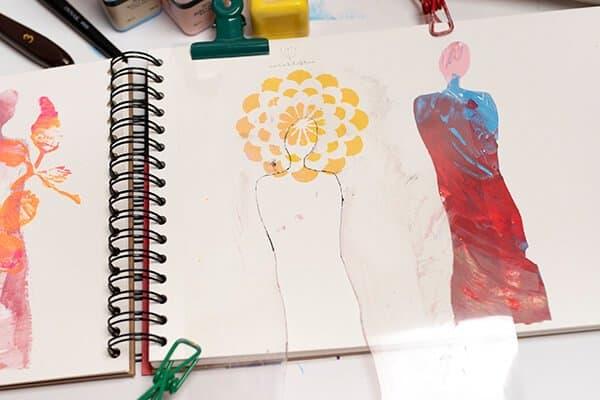 human figure stencil on art journal page