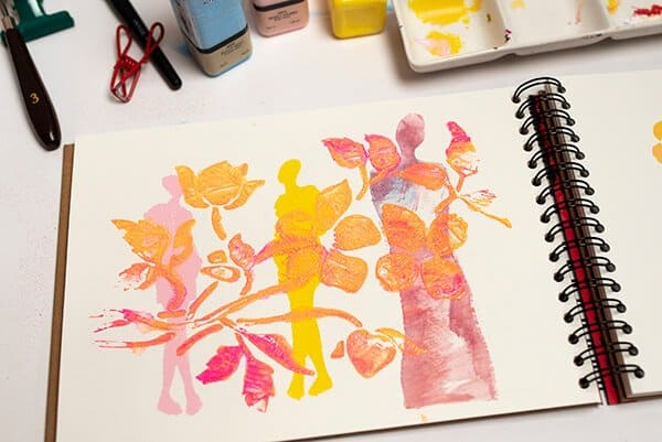 the result of using paint and a brayer