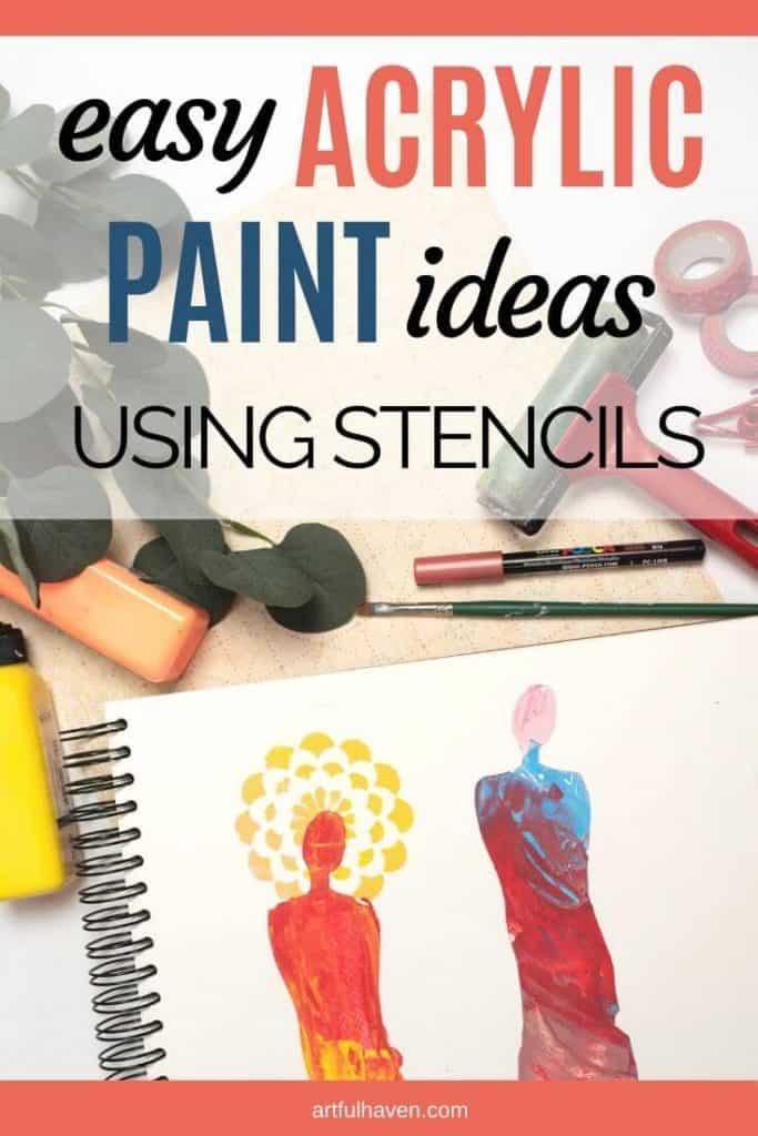 easy acrylic painting ideas using stencils