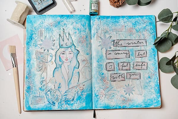 mixed media art journal spread