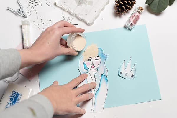 embossing on a painted girl