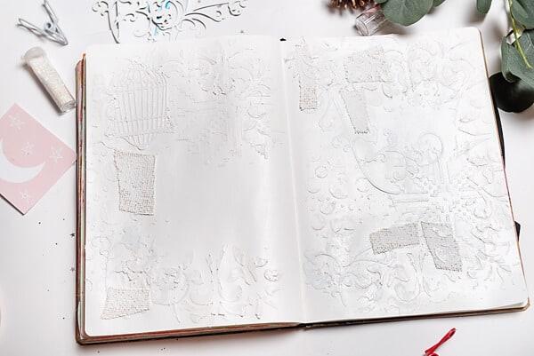 textured mixed media art journal spread