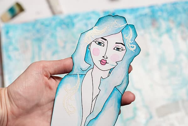 finished mixed media girl cut-out
