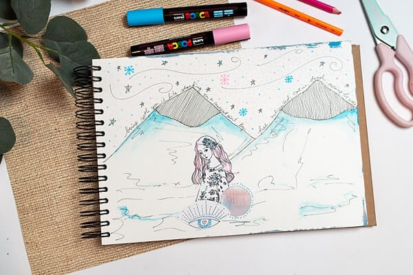 winter art journal prompt: mountain tops