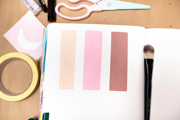 color palette inspiration in an art journal