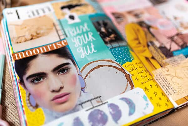 close-up pf art journal inspiration board