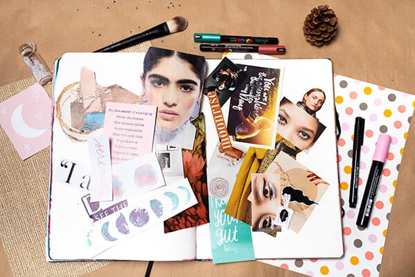 breaking the blank page with collaging