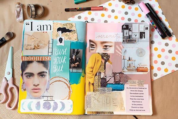 inspiration board in an art journal