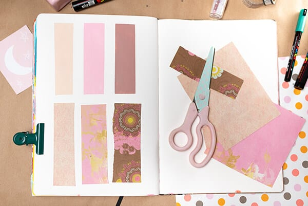 color palette with acrylic paint and paper
