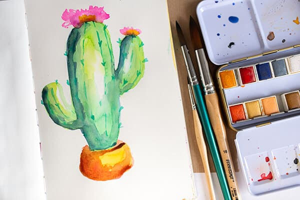 finished watercolor painting of a cactus