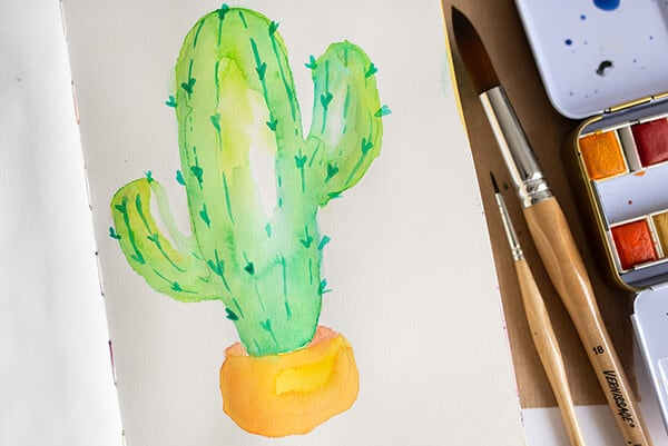 watercolor cactus with thorns
