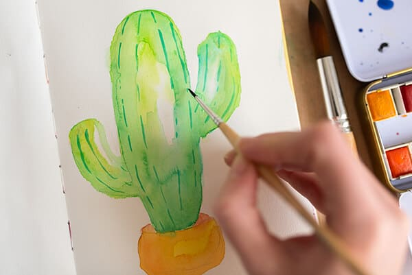 adding lines on the cactus with a brush
